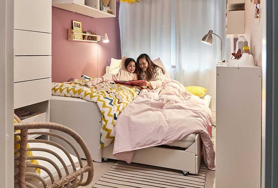 catálogo ikea 2020 the lab home españa dormitorio muebles blancos funda nórdica amarillo y rosa