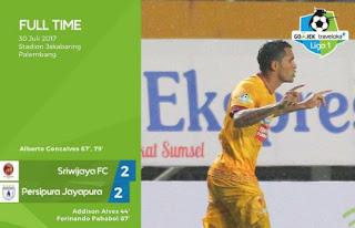 Sriwijaya FC vs Persipura Imbang 2-2