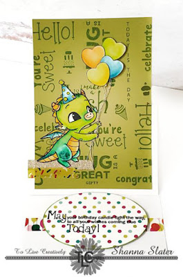 The Celebrate stamp set really stands out on the hand created background.  Happy Dragon Polymer stamp is the focal point and ready to play with his balloons!  The TLCDesigns.shop products can make your next project fun and exciting!