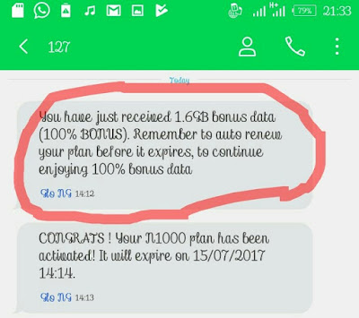 Glo 100% Double Data Offer