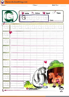 Alphabet G tracing worksheet