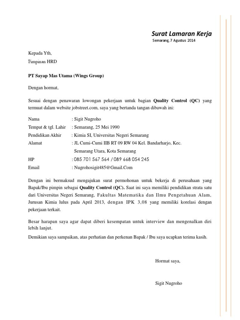 99+ Kumpulan Surat Lamaran Kerja Dalam Bahasa Inggris Yang