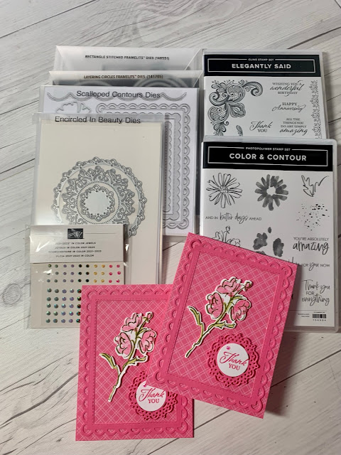 Dies, Stamps and papers used to create handmade thank you cards using Stampin' Up! Color & Contour Bundle | 158356