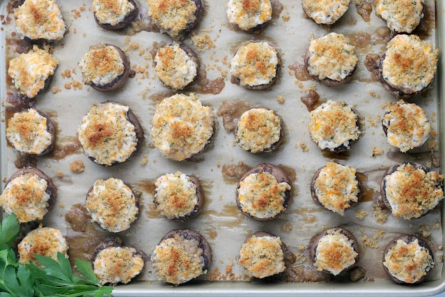 Cheesy Garlic Stuffed Mushrooms on baking sheet