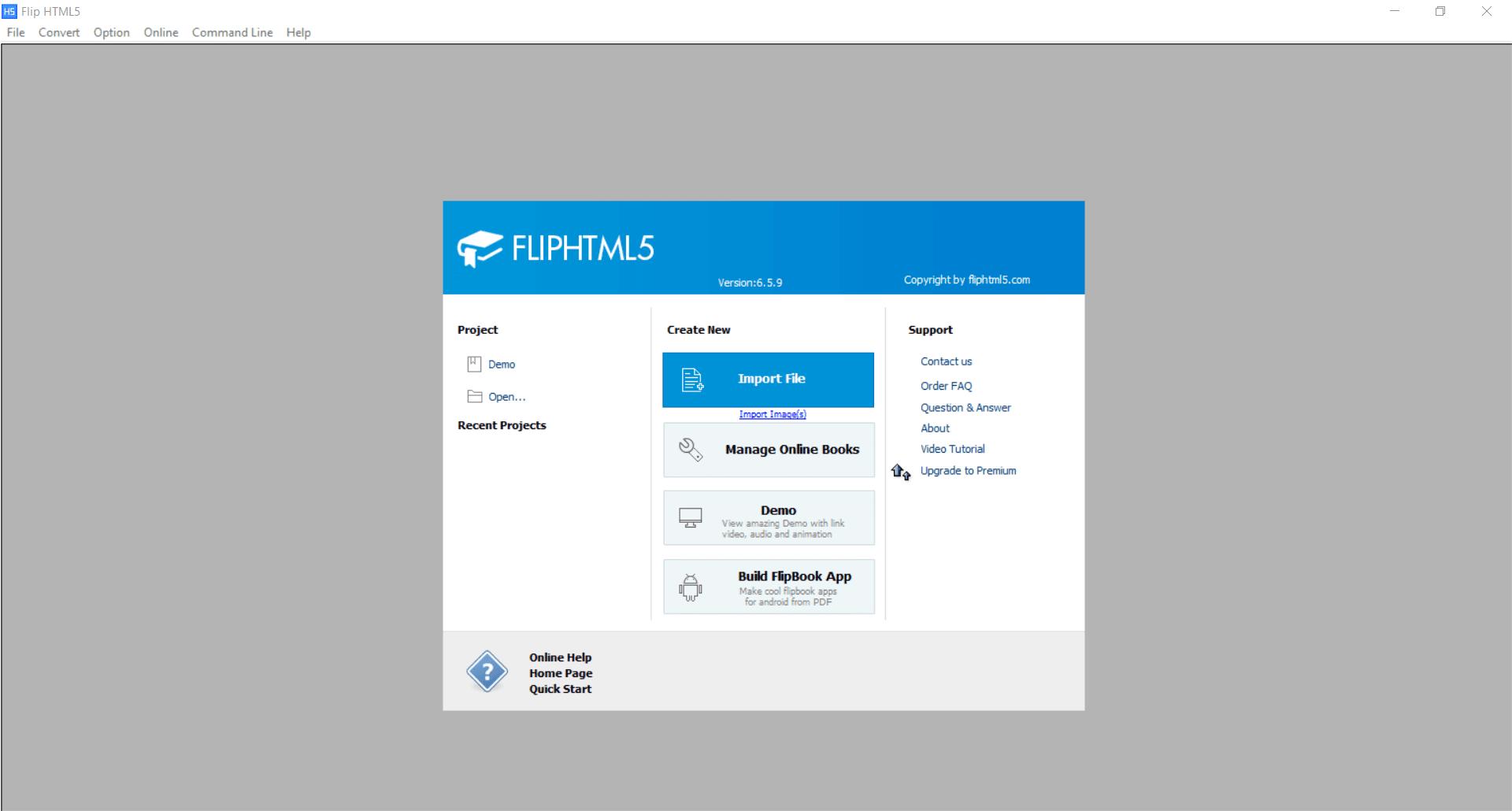 FlipHTML5 Main Interface Screenshot