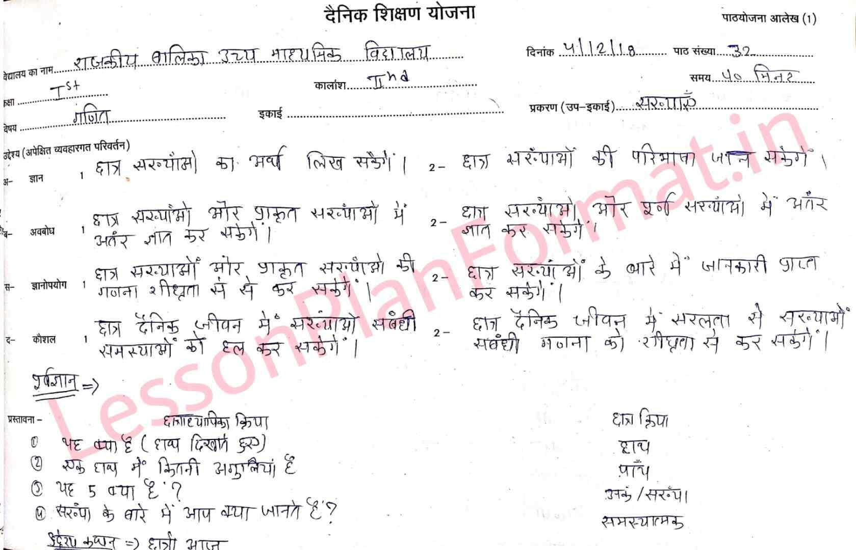 Maths Lesson Plan in Hindi
