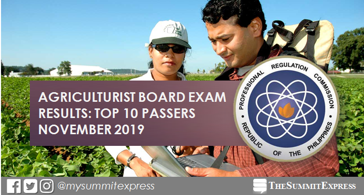 RESULT: November 2019 Agriculturist board exam top 10 passers
