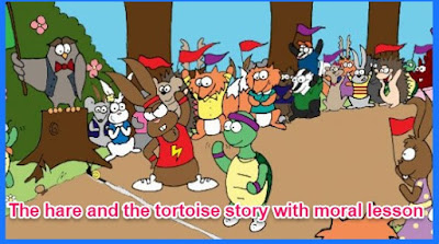 The hare and the tortoise story with moral lesson
