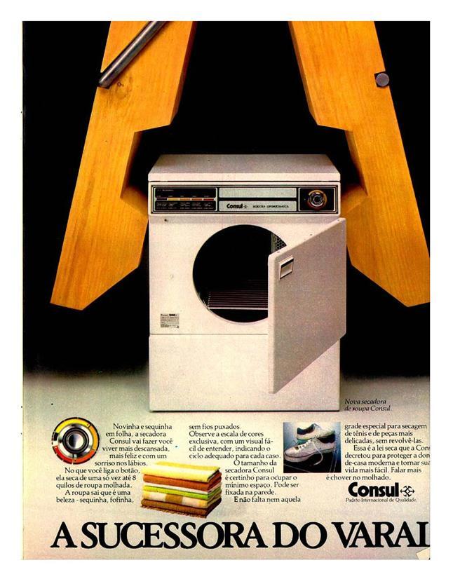 Anúncio da secadora Consul veiculada em revistas no ano de 1981
