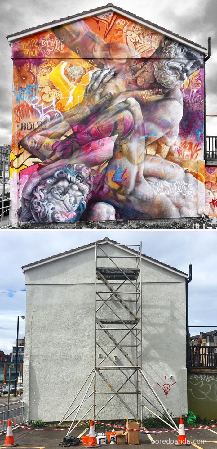 10+ Incredible Before & After Street Art Transformations That'll Make You Say Wow - Hercules Fighting The Centaur Nessus, Manchester, England