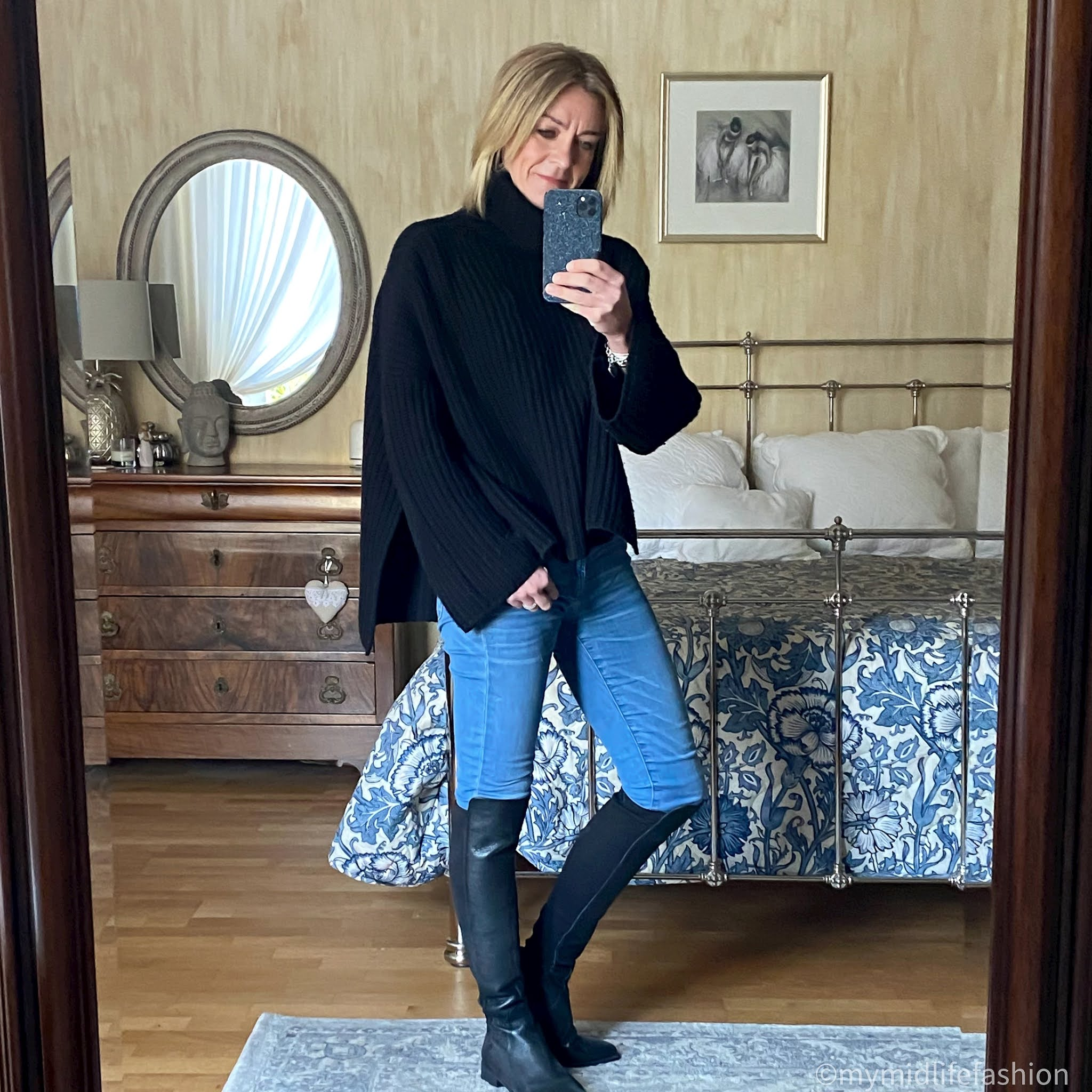 my midlife fashion, zara over the knee leather boots, Joseph chunky knit rollneck jumper, j crew 8 inch toothpick skinny jeans