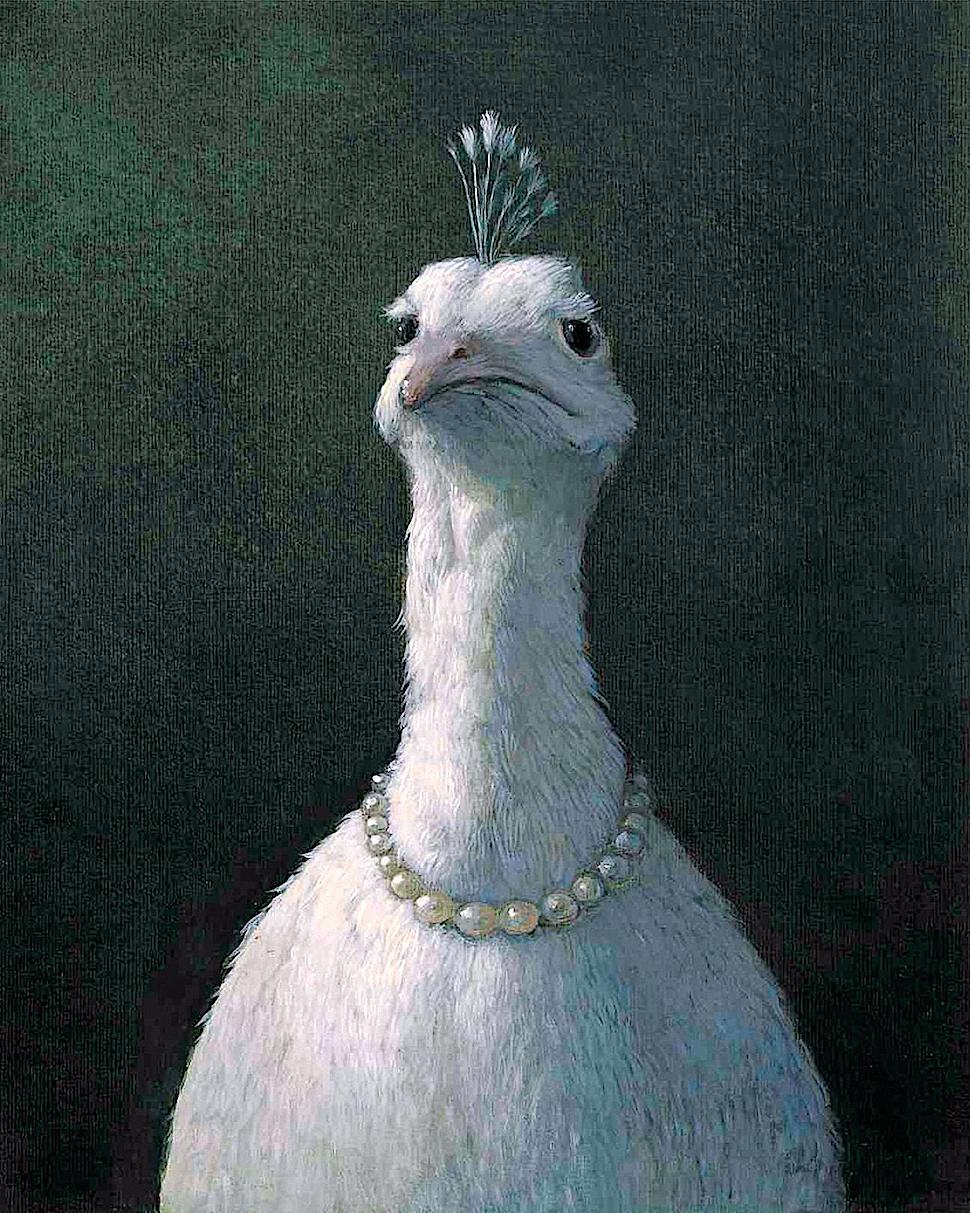 Michael Sowa, a dignified white bird with a pearl necklace
