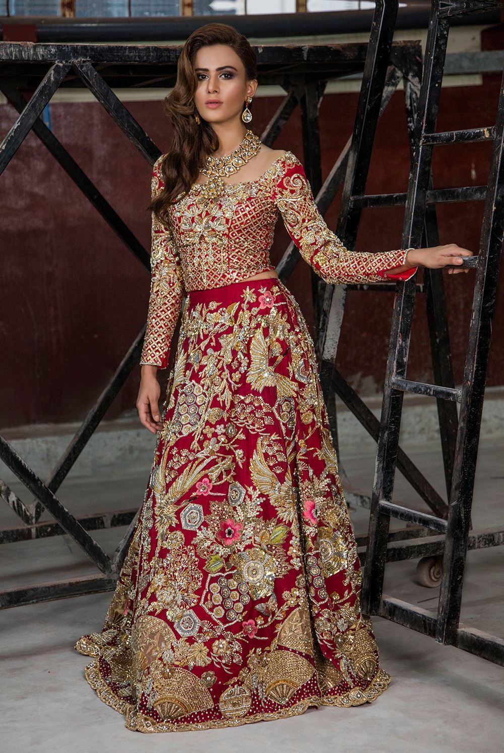 Traditional Red & Golden Bridal Dress