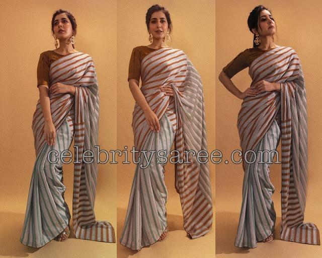 Raashi Khanna in Stripes Saree