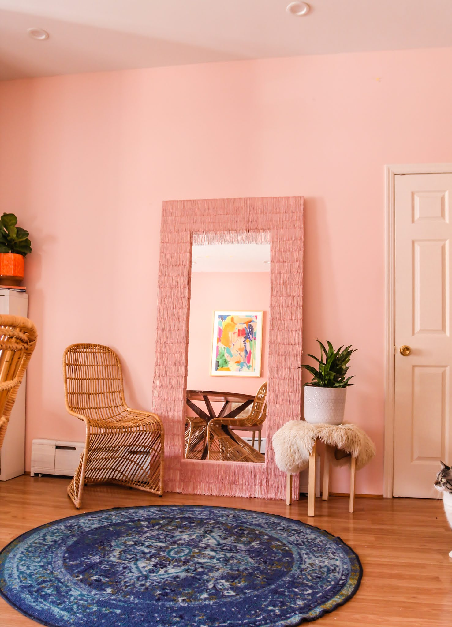 Ikea Hack // Ikea Mirror Hacks // Fringe Mirror // DIY fringe mirror // DIY floor length fringe mirror // floor length fringe mirror // pink fringe mirror // fringe diy // Megan Zietz // tfdiaries // easy ikea mirror epicycle // easy ikea mirror hack // easy ikea hacks // colorful homes // pink mirror // diy pink mirror // fringe mirror tutorial // budget friendly mirror diy // ikea mongstad mirror diy // ikea mongstad mirror hack // ikea mongstad // floor length mirror diys