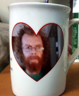 Personalised gifts for uni students mug with photo of 'dad' looking like wild man of ancient Scotland