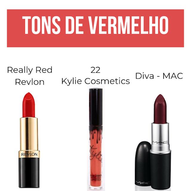 Tons de batom vermelho, maquiagem, batom, batom kylie jenner, MAC, Revlon