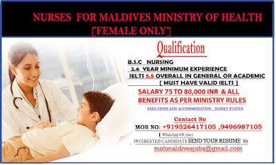 MALDIVES MOH VACANCY FOR NURSES