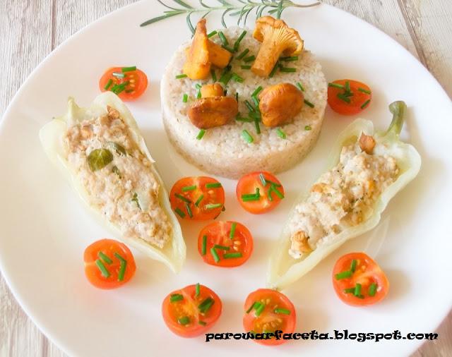papryka nadziewana mięsem mielonym na parze, w parowarze