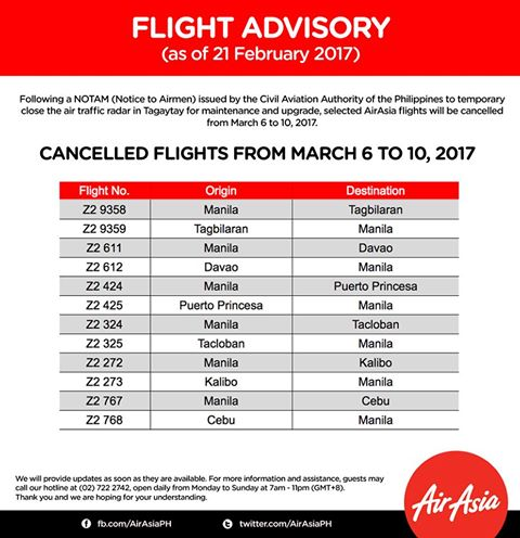 list of air asia cancelled flights march 2017 tagaytay radar