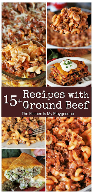 15+ Dinner Recipes with Ground Beef - Easy Ideas the Whole Family Will Love. Check out these favorite go-to dinner recipes with ground beef, that are all easy to make, for sure!  www.thekitchenismyplayground.com