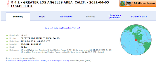 Earthquakes Of Up To 4.0 Magnitude Strike Los Angeles Area