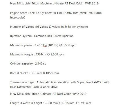 Mitsubishi Triton Ultimate AT Dual Cabin 4WD 2019 specifications