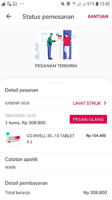 riwayat memesan co-irvell online di masa virus korona