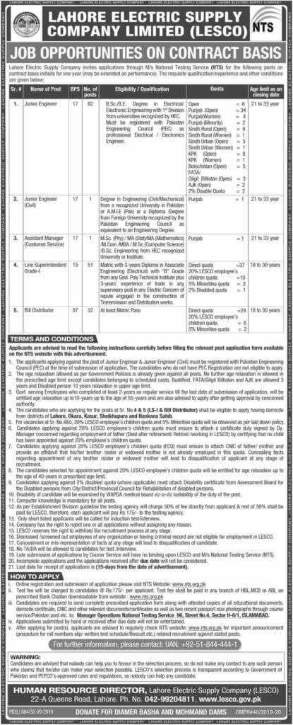 Balochistan Quota Jobs Latest Jobs 2019 LESCO