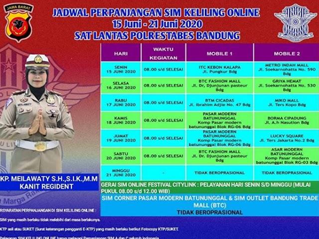 Jadwal Layanan SIM Keliling Polrestabes Bandung Bulan Juni 2020