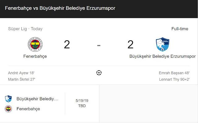 Replay Gol Fenerbahce vs Erzurum BB Skor Akhir 2-2