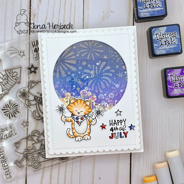 4th of July card by Tina Herbeck | Newton's 4th of July Stamp Set, Fireworks Stencil, Frames & Flags Die Set and Circle Frames Die Set by Newton's Nook Designs #newtonsnook