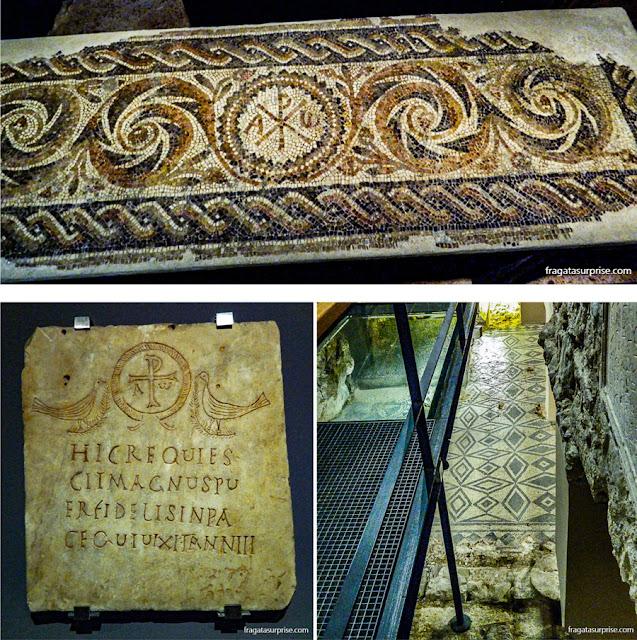 Pisos em mosaico romanos expostos no Museu de História de Barcelona