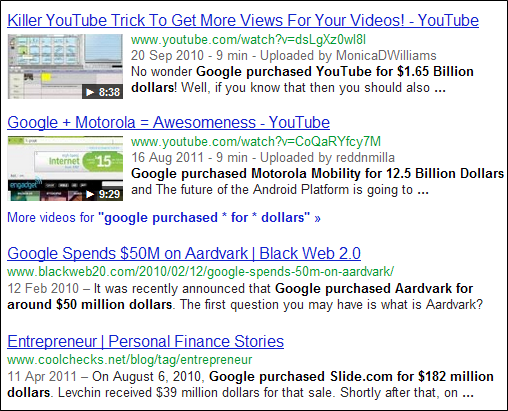 The asterisk (*) wildcard that can match any word - example, 'google purchased * for * dollars'