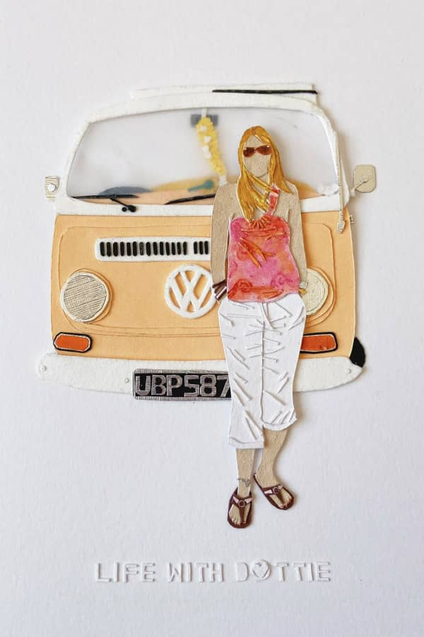 paper art personalized portrait of woman in summer clothing posing in front of VW bus