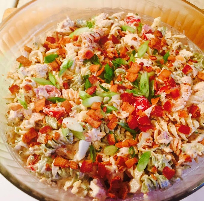 Chicken Bacon Ranch Pasta Salad: