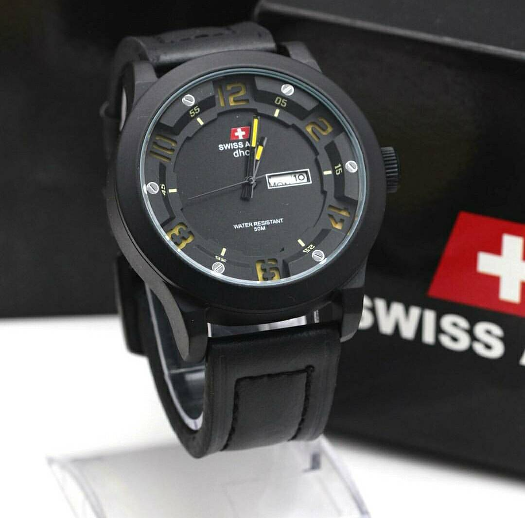 GINDA COLLECTION New Jam Tangan Swiss Army Leather Date