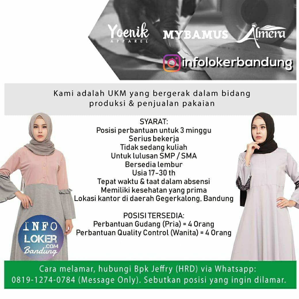Lowongan Kerja Perbantuan Gudang & Perbantuan Quality Control Bandung Agustus 2018