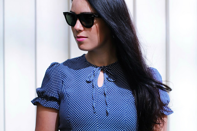 Archive By Alexa Chung M&S polka dot dress - UK style blogger Emma Louise Layla