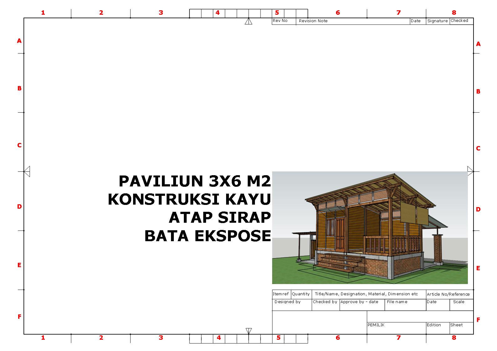 paviliun 3x6 m2 konstruksi kayu