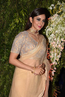 Actress Rakul Preet Singh Stills in Saree at Srija Wedding Reception  0015.jpg