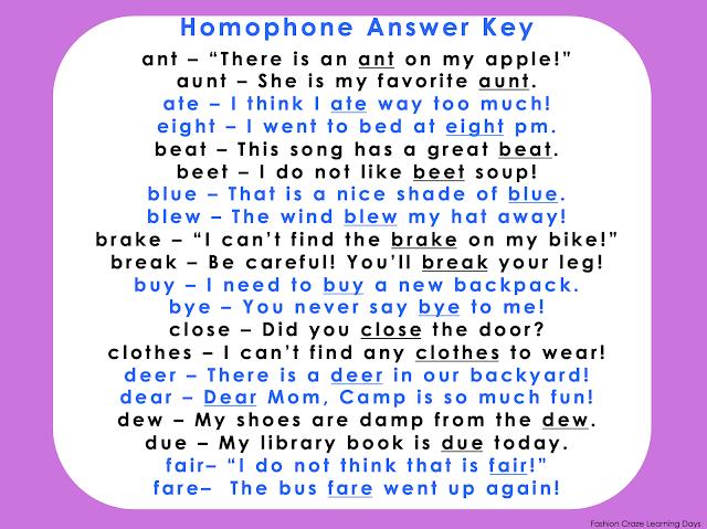homophone answer key