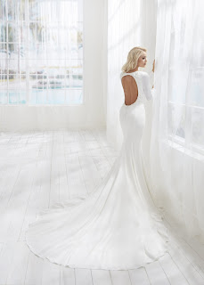 Randy Fenoli Fitted Simple Long Sleeve Bridal Dress with open back design