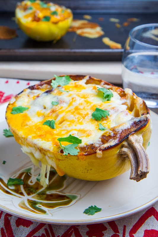 Chicken Enchilada Stuffed Spaghetti Squash