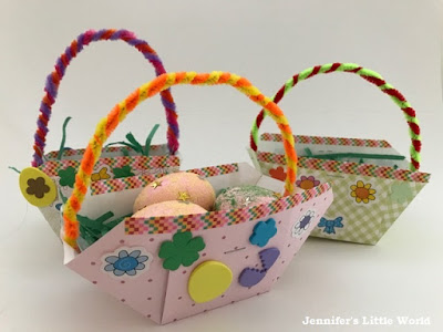 Tutorial for simple cardboard Easter baskets