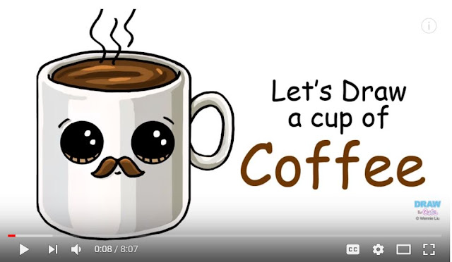 how to draw a cute coffee mug with a mustache on YoutTube