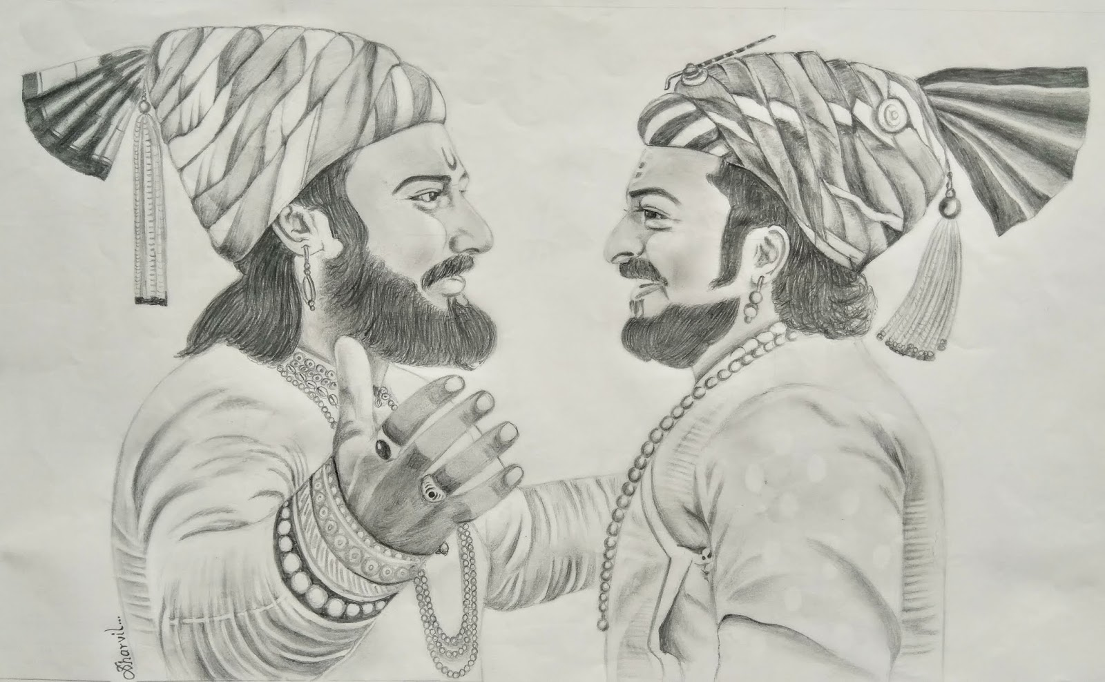 Chhatrapati shivaji maharaj and sambhaji maharaj sketch by sharvil patil