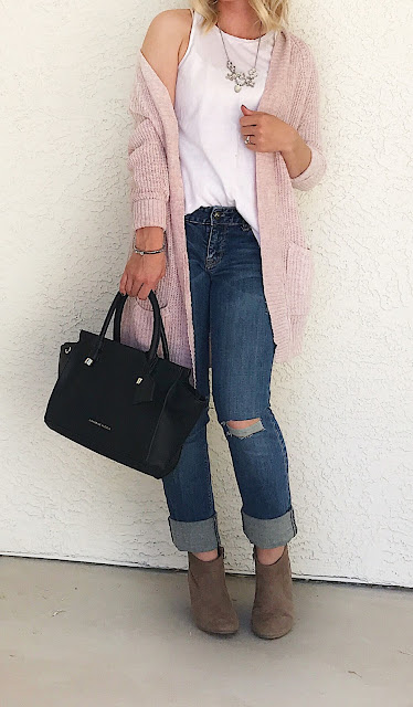 Thrifty Wife, Happy Life- Layered look with blush cardigan with distressed jeans