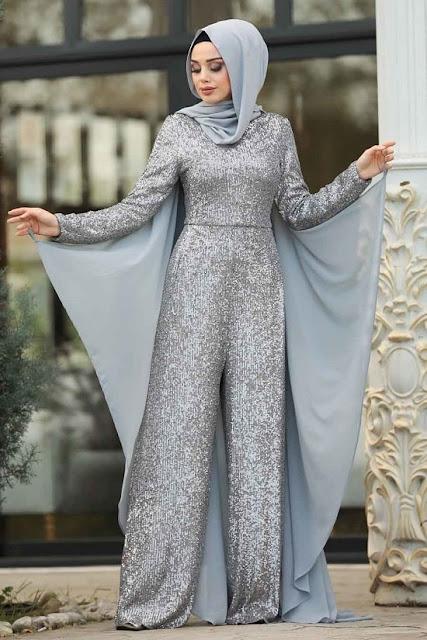 فستان جمبسوت سكني اللون للمحجبات موديل 2020