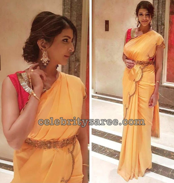 Lakshmi Manchu Mustard Yellow Saree